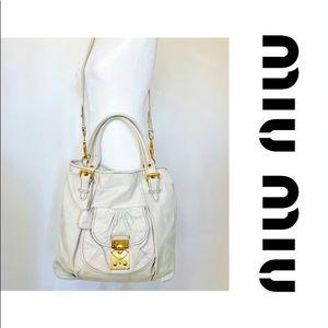 Authentic Miu Miu Vitello Lux Large Cream Tote Bag